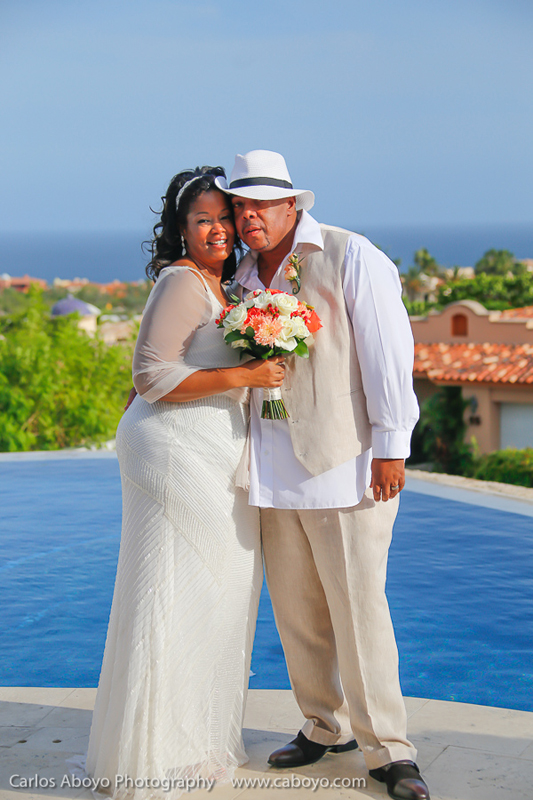 Vow renewal ceremony in a Los Cabos Mexico vacation rental