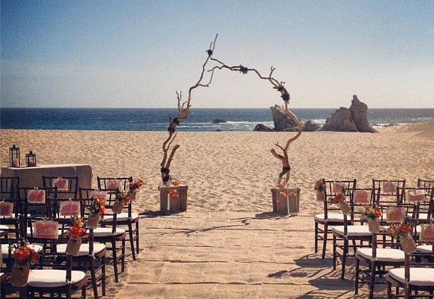 Wedding arch from driftwood and seating
