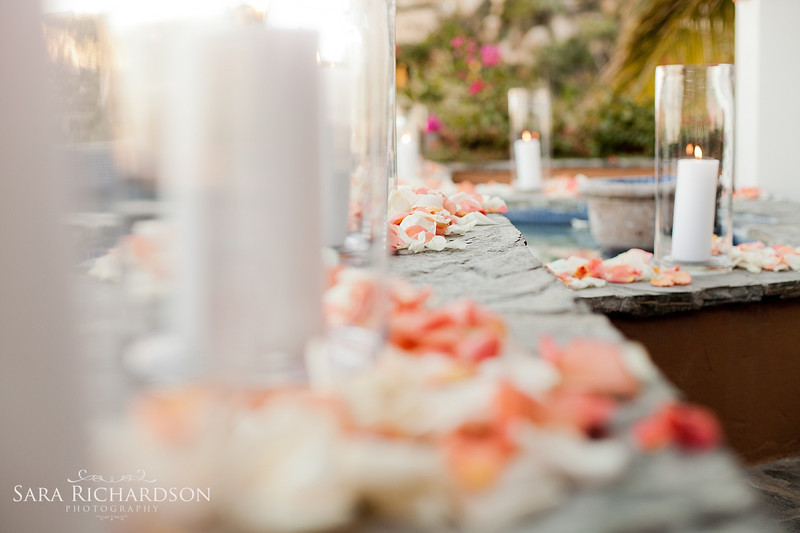 Table with petals and candles