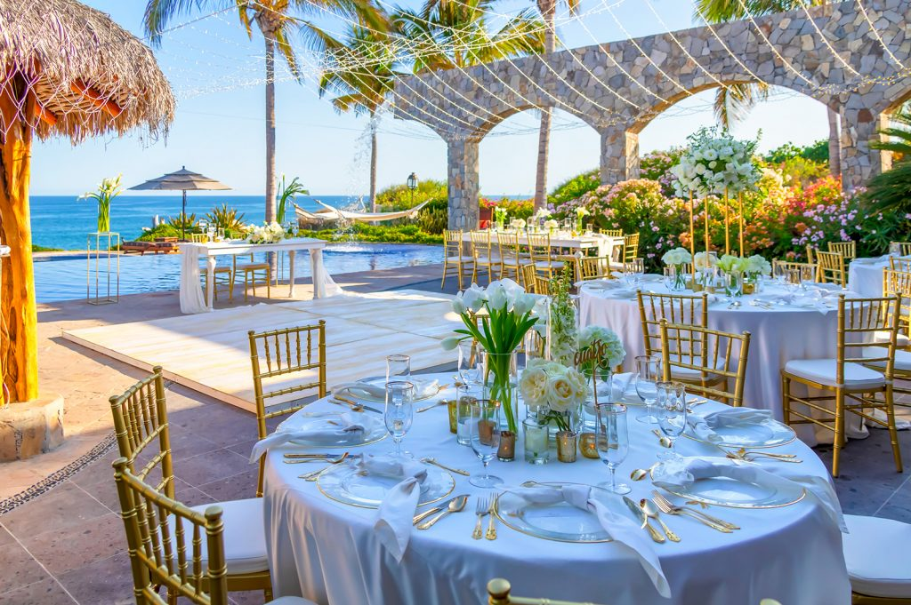 Luxury destination wedding in private vacation rental in Los Cabos Mexico