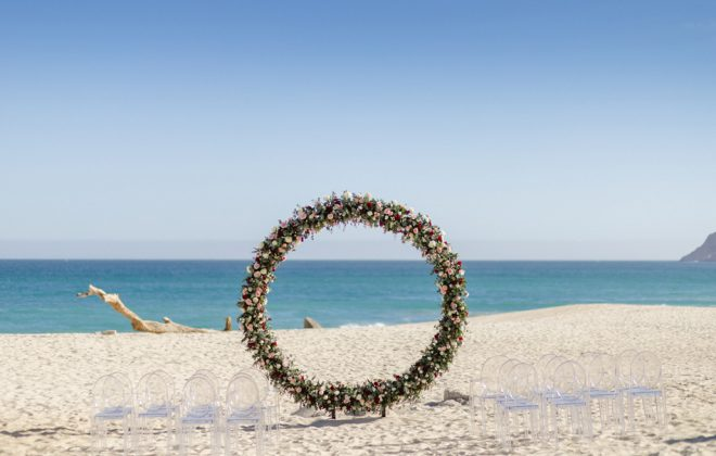 Luxury Destination Wedding on the Beach in Los Cabos Mexico at private Vacation Rental Villa las Rocas